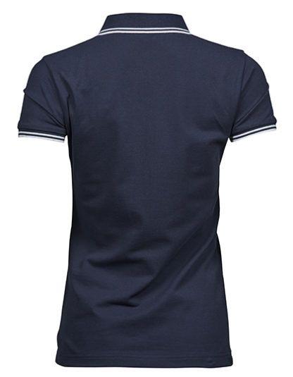 Tył damskiej koszulki Polo Luxury Stripe Stretch - Navy/White