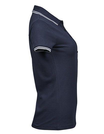 Bok damskiej koszulki Polo Luxury Stripe Stretch - Navy/White