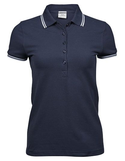 Damska koszulka Polo Luxury Stripe Stretch - Navy/White
